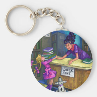 Library Check Out Artwork Basic Round Button Keychain