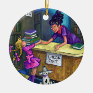 Library Check Out Artwork Double-Sided Ceramic Round Christmas Ornament