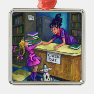 Library Check Out Artwork Square Metal Christmas Ornament