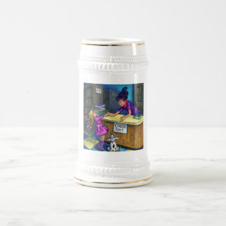 Library Check Out Beer Stein