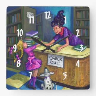 Library Check Out Square Wall Clock