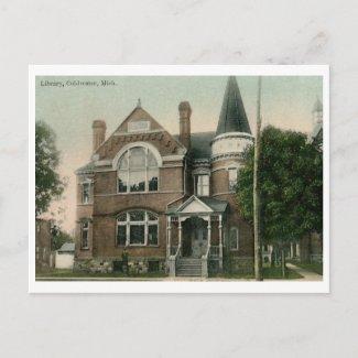 Library, Coldwater, MI 1909 Vintage zazzle_postcard