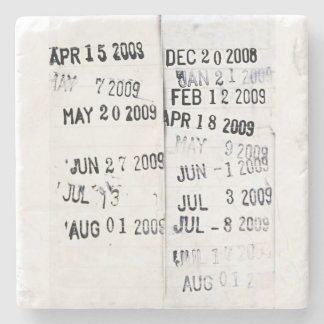 Library Date Stamps Stone Coaster