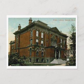 Library, Detroit, MI 1909 Vintage postcard