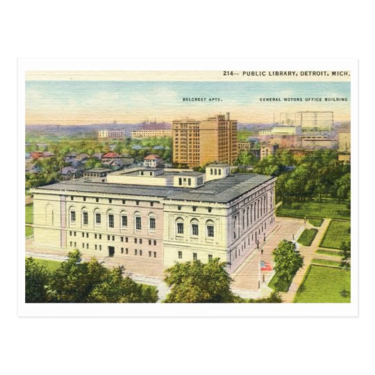 Library, Detroit, Michigan Vintage Postcard