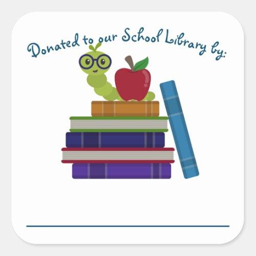 Library Donation Bookplate Label _ Bookworm Design