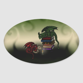 Library Dragons Oval Sticker