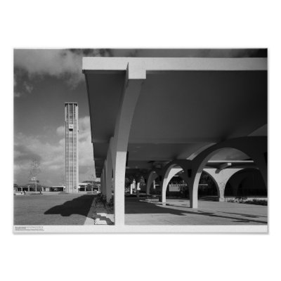 Library Entrance Arches, Bell Tower in Background Poster by ucrcmp