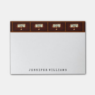 Library File Cabinet English Teacher Writer Custom Post-it Notes