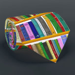 """Library for genius. Books for clever students Neck Tie<br><div class=""""desc"""">Library for genius,  bookcase with lots of books pattern tie. This funny,  cute  tie is a great gift for college students,  medical students,  phd students and for book worms,   who are learning a lot and very clever. shelves,  books,  library,  knowledge,  university,  cleves,  smart,  educated,  genius,  party,  for phd students</div>"""