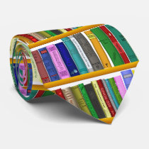 Library for genius. Books for clever students Neck Tie