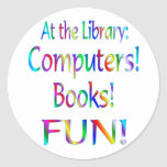 Library Fun Classic Round Sticker
