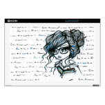 "Library Girl w Glasses Book Tattoo Skin 17"" Laptop Decals"