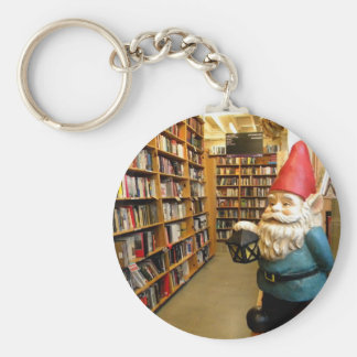 Library Gnome I Basic Round Button Keychain
