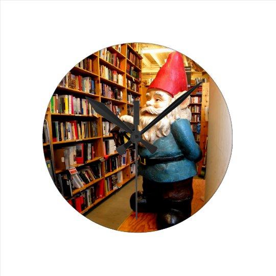 Library Gnome II Round Clock