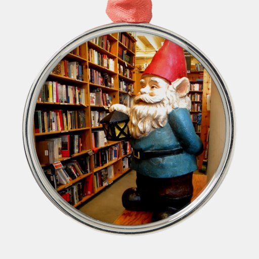 Library Gnome II Round Metal Christmas Ornament