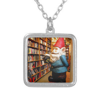 Library Gnome II Silver Plated Necklace