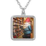 Library Gnome II Square Pendant Necklace