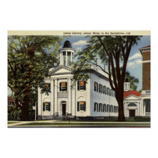 Library, Lenox, Massachusetts 1932 Vintage Poster