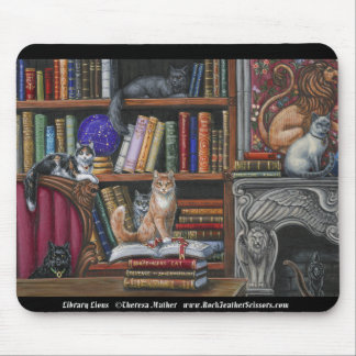 Library Lions Cats and Books Mousepad