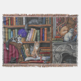 Library Lions Throw Blanket