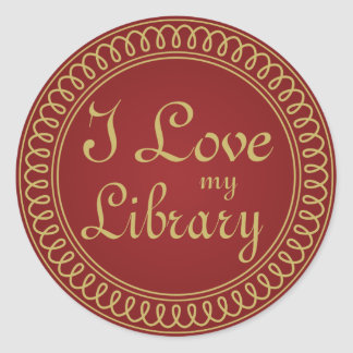 Library Lover Red and Gold Reading Gift Classic Round Sticker