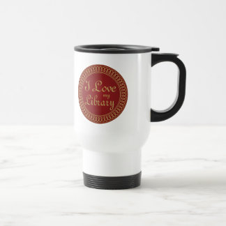 Library Lover Red and Gold Reading Gift Coffee Mug