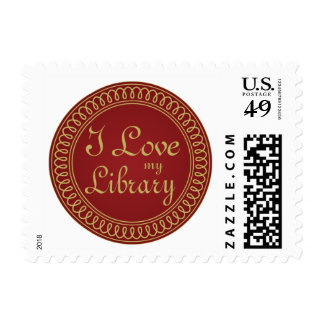 Library Lover Red and Gold Reading Gift Postage Stamps