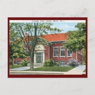 Library, Marion, Illinois Vintage postcard