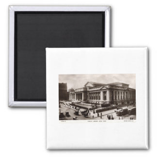 Library, New York City c1910 Vintage 2 Inch Square Magnet