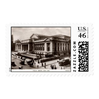 Library, New York City c1910 Vintage stamp