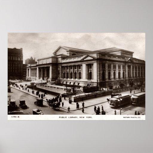 Library, New York City c1910 Vintage Print