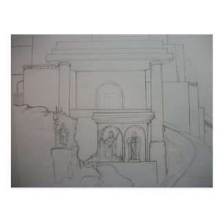 Library of Azarand - Statues Postcard