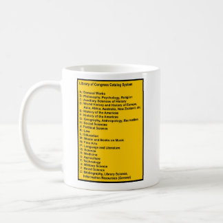 Library of Congress Catalog System: Caution Yellow Coffee Mug