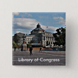 Library of Congress in Mosaic Pattern Pinback Button