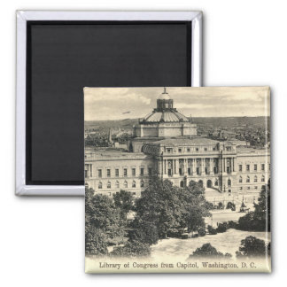 Library of Congress, Washington DC, 1912 Vintage 2 Inch Square Magnet