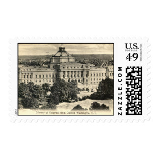 Library of Congress, Washington DC, 1912 Vintage Stamp