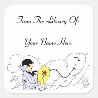 Library of Storybook Kite Custom Bookplate Sticker Square Sticker