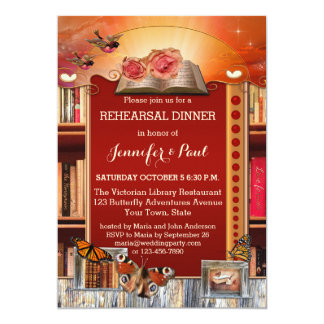 Library or Book Lovers Rehearsal Dinner Invitation