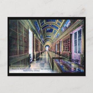 Library, Palais de Fontainebleau, France 1926 Vint postcard