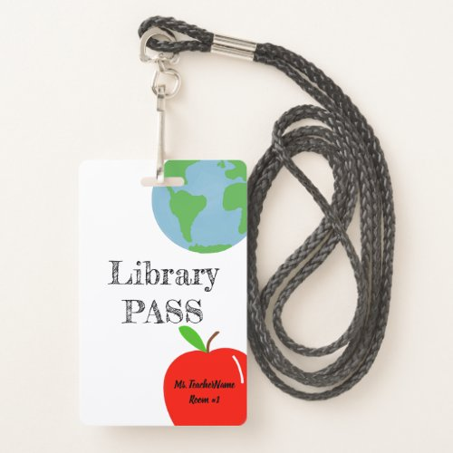 Library Pass Personalized Badge