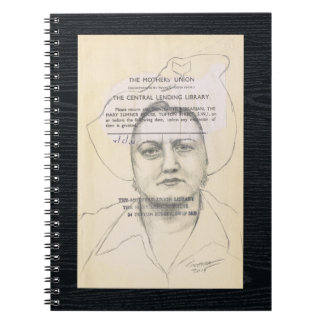 Library People 143 Contemporary Pencil Portrait Spiral Notebook