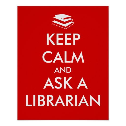 Library Poster Keep Calm Stack of Books Template
