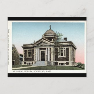 Library, Rockland Mass. Repro Vintage 1908 postcard