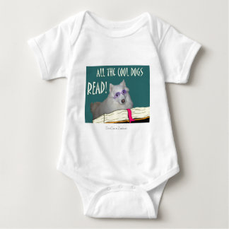 Library - Samoyed - Cool Dogs Read Literacy Baby Bodysuit