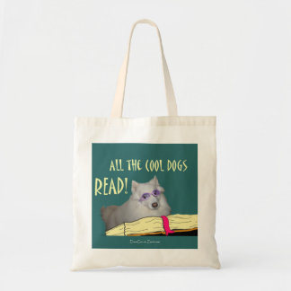 Library - Samoyed - Cool Dogs Read Literacy Budget Tote Bag