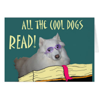 Library - Samoyed - Cool Dogs Read Literacy Card