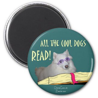 Library - Samoyed - Cool Dogs Read Literacy Magnet