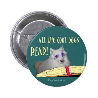 Library - Samoyed - Cool Dogs Read Literacy Pinback Button