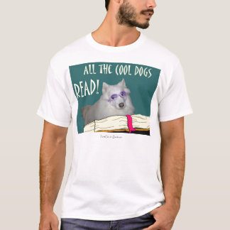 Library - Samoyed - Cool Dogs Read Literacy T-Shirt